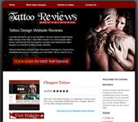 Image showing CBProads' tattoo reviews niche storefront with a woman gripping a tattooed man