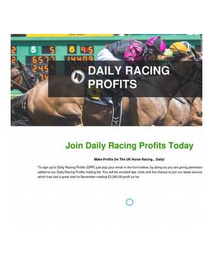 Make Profits From UK Horse Racing Daily!
